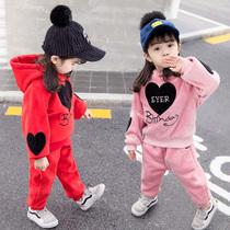 女宝宝童装洋气套装女童韩版加绒加厚金丝绒运动秋冬装两件套