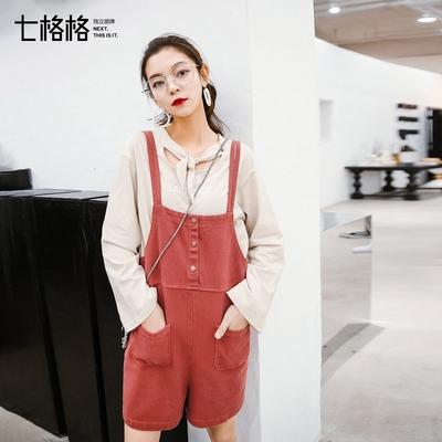 七格格牛仔背带短裤女宽松学生韩版学院风2018新款显瘦夏季休闲裤