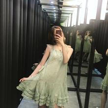 仙女裙chic温柔小个子仙女超仙森系性感吊带连衣裙牛油果绿小清新