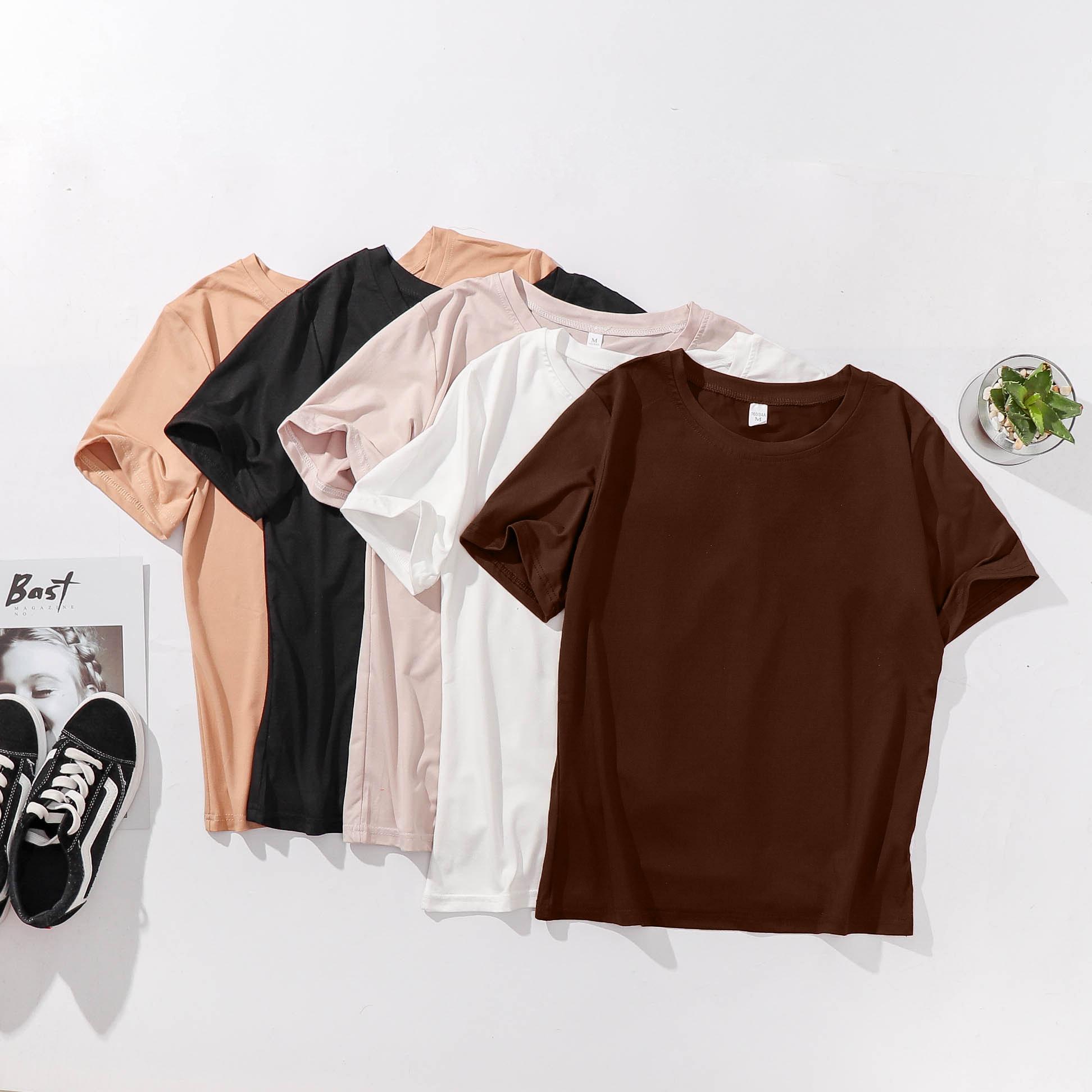 白色T恤女短袖2019新款夏装宽松纯色体恤白搭上衣服半袖短款韩版