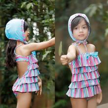 新款儿童泳衣女孩彩虹条纹女童泳衣小公主泳装蛋糕裙儿童连体泳衣