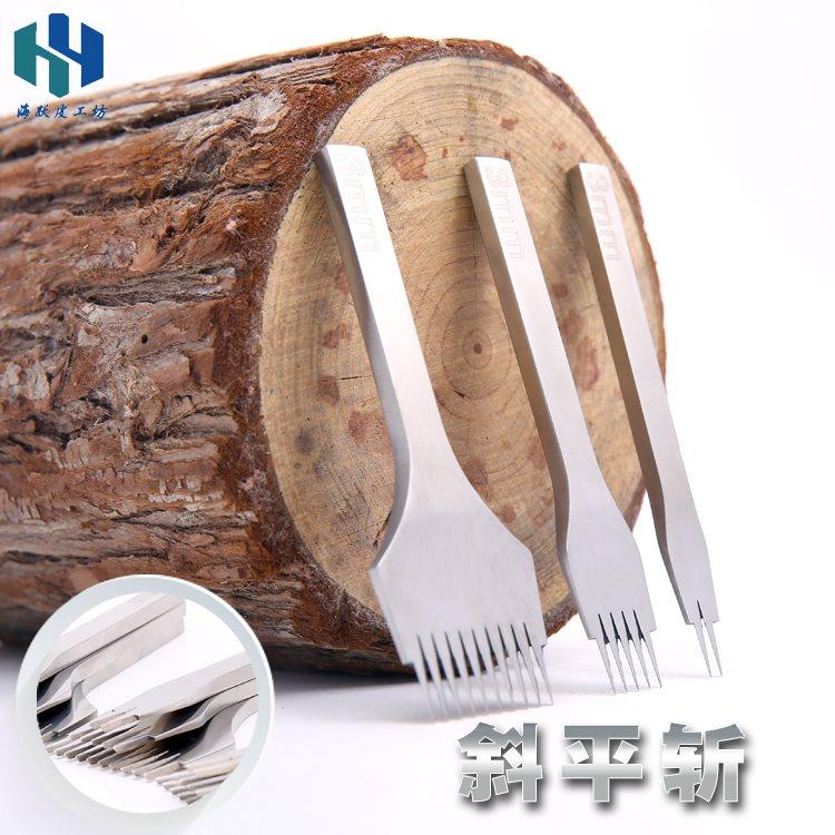 斩皮雕工具皮革打孔专白钢斩法式斩斜平斩菱业DIY工具3.85mm