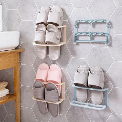 巧居家 壁挂式可折叠鞋架墙上拖鞋架子 家用简易粘贴式鞋子收纳架