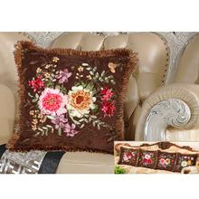 馨妆丝带绣抱枕客厅丝带绣十字绣抱枕 新款印花卧室沙发靠垫