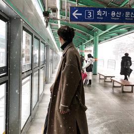 冬季新款韩版呢大衣男中长款宽松毛呢加厚情侣风衣呢子保暖外套潮图片