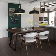 铁艺实木桌 简易宜家餐厅桌椅家用饭桌小户型餐桌椅组合 现代简约