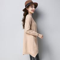 2018秋季新款韩版中长款套头半高圆领毛衣女纯色针织打底毛衣裙潮