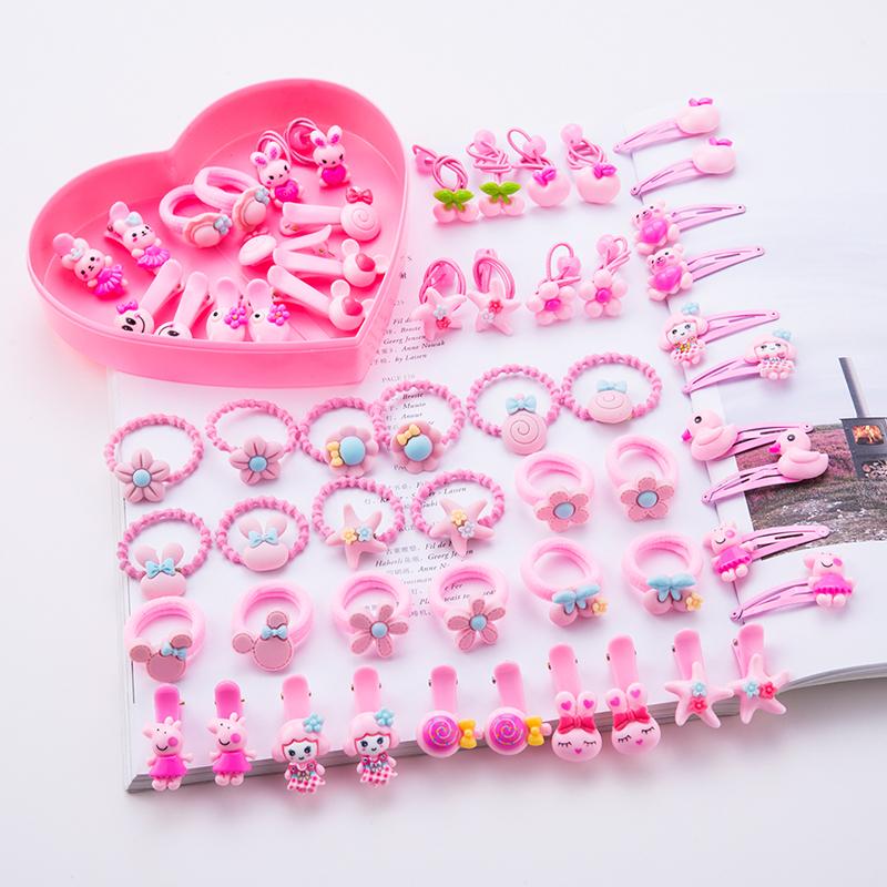 60件套儿童发饰套装女宝宝皮筋女童发夹橡皮筋小女孩头绳发圈夹子