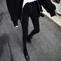 烟灰色加绒加厚牛仔裤女秋冬季网红高腰紧身圆环加棉小脚九分裤子