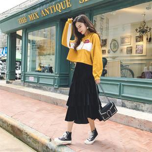 时尚套装2019春秋新款宽松大码韩版连帽卫衣女金丝绒半身裙两件套