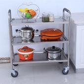 不锈钢多功能三层餐车手推车酒店双层收碗车可移动多功能家用