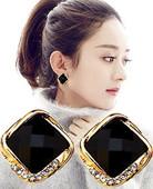 多色925银针百搭方块耳扣女赵丽颖同款耳钉环职场气质耳饰品韩国