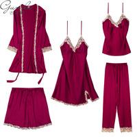 古妮莉秋季冰丝睡衣五件套装仿真丝绸带胸垫吊带睡裙睡袍可外穿