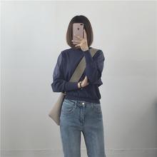 土橘 18秋 深蓝 清仓 透视感拼接长袖 墨绿 咖啡 针织衫