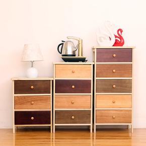 现代简约五斗柜彩色实木组合收纳储物柜卧室客厅柜整装经济型斗橱