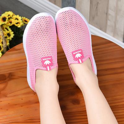 女鞋夏季透气网眼鞋休闲一脚蹬妈妈平底单鞋镂空网面运动鞋懒人鞋