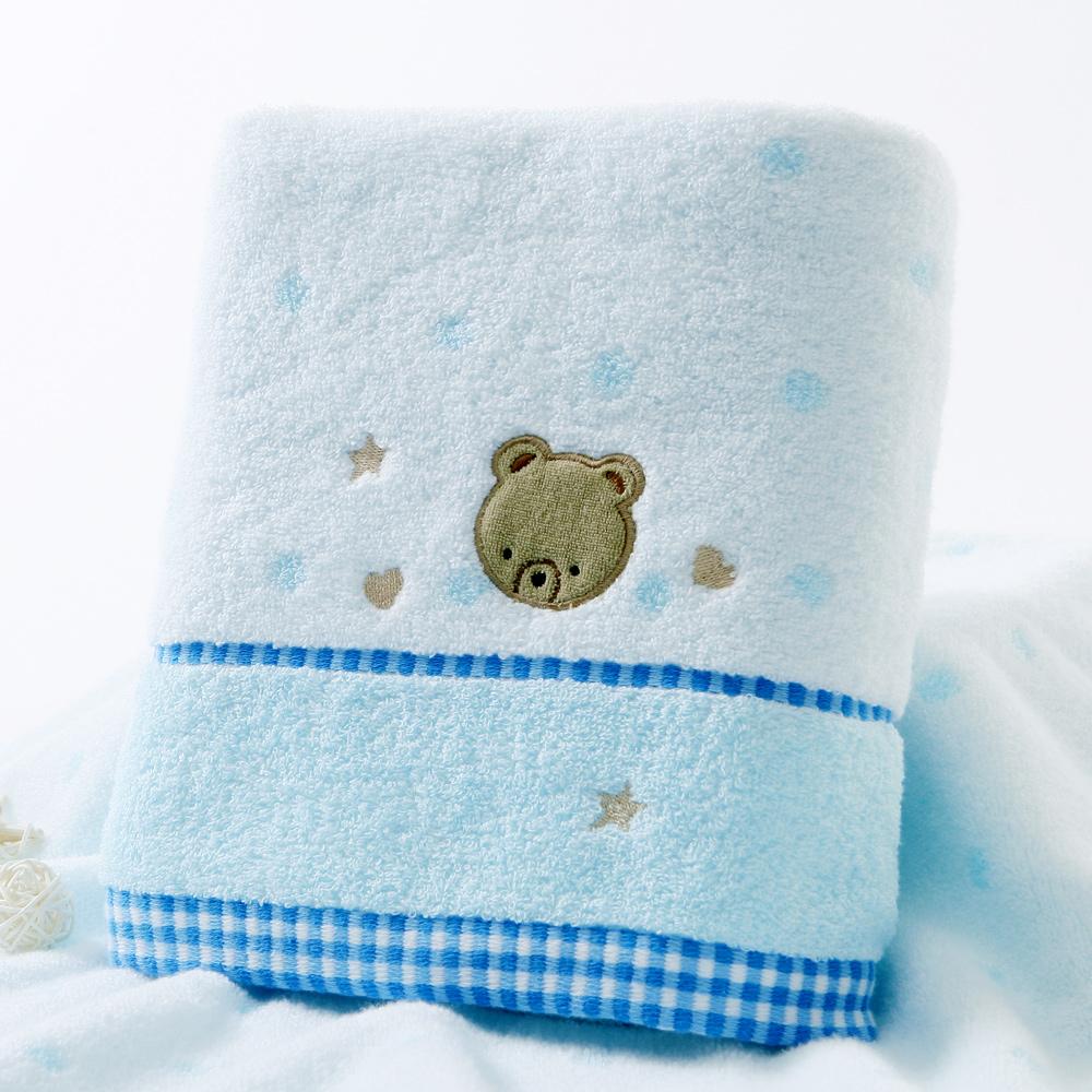 金号纯棉浴巾 无捻绣花 柔软吸水 宝宝浴巾 婴儿浴巾 卡通可爱
