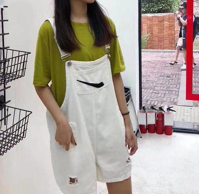 韩国ulzzang原宿bf风宽松ins勾勾复古背带裤牛仔阔腿短裤女学生潮