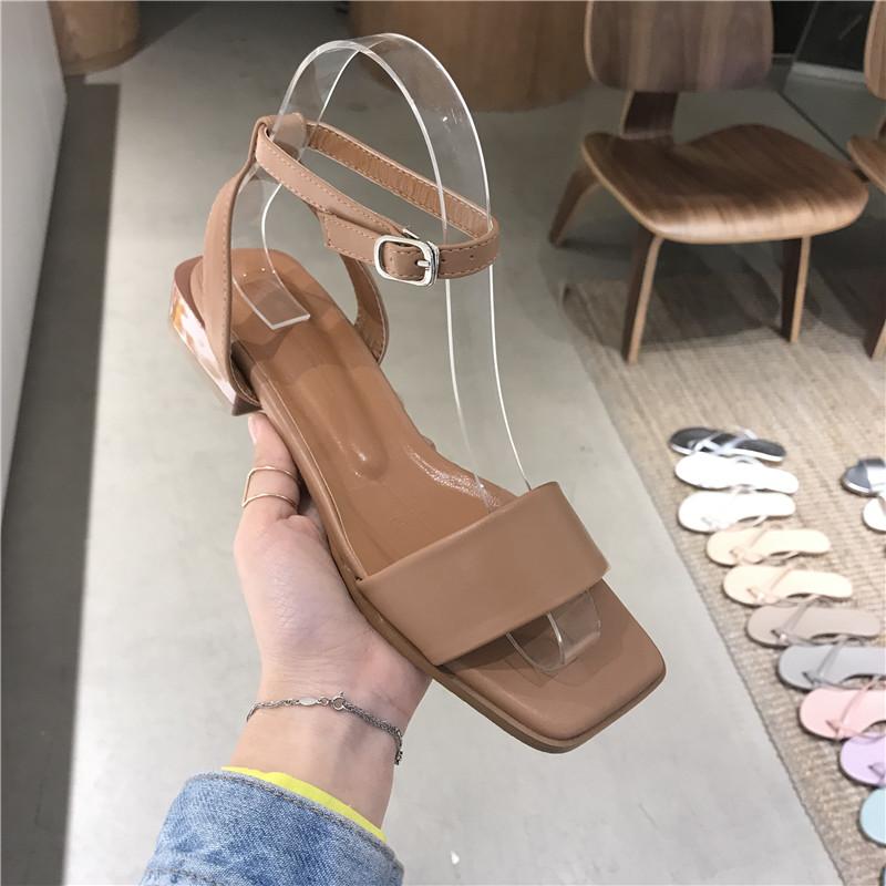 灰姑娘韩国女2019夏季新款方头露趾一字带脚腕皮带扣平底凉鞋舒适