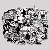 120 black and white stickers suitcase tide card waterproof stickers laptop dead fly flat mobile phone stickers
