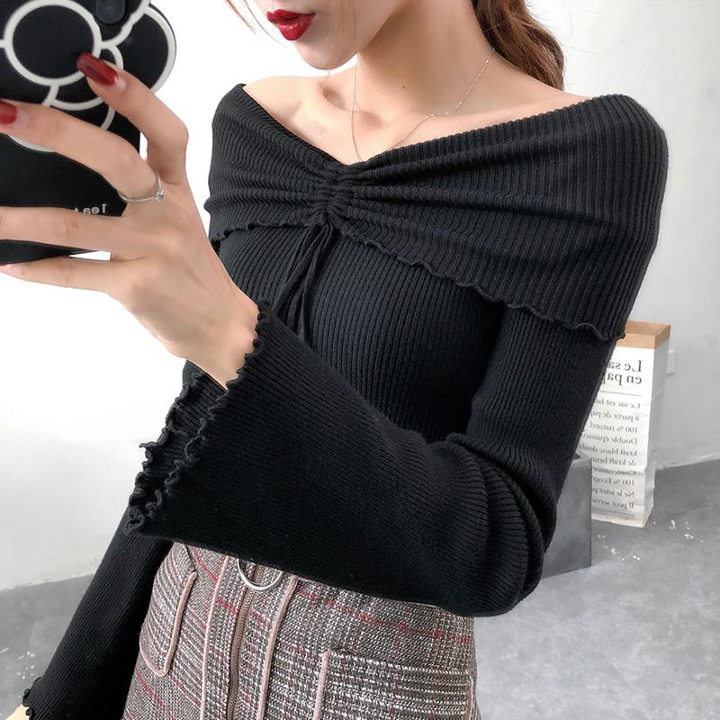 纯色露肩针织衫