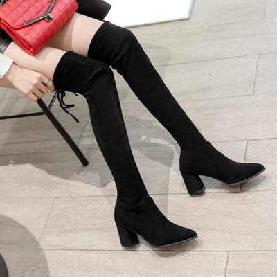 蜜始2018秋冬新款过膝长靴女弹力靴中跟粗跟显瘦40大码女弹力长靴