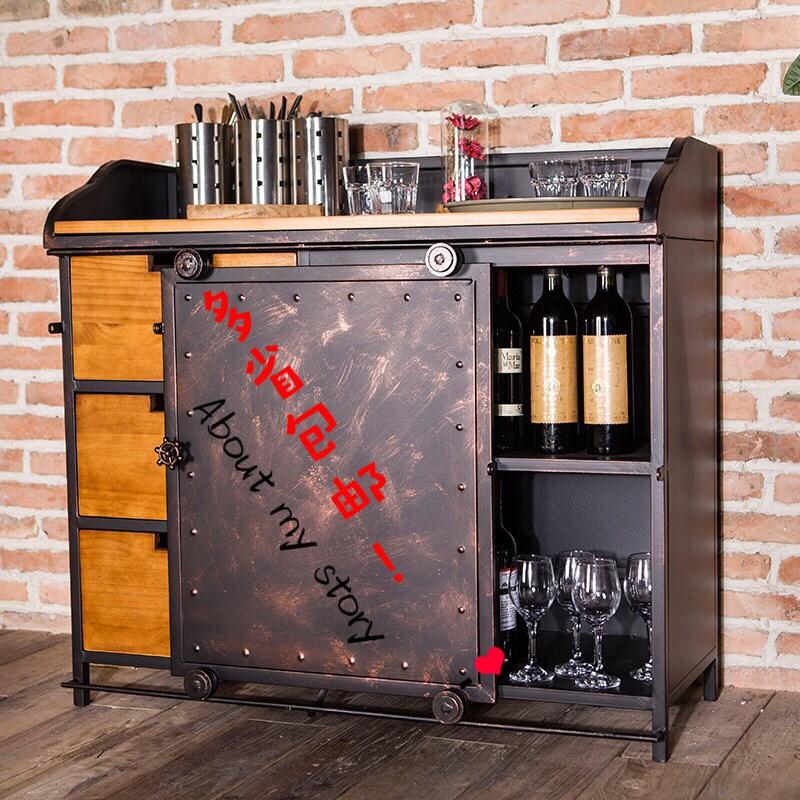 美式实木餐边柜储物柜定做工业风复古餐厅茶水台碗柜备餐柜小酒柜