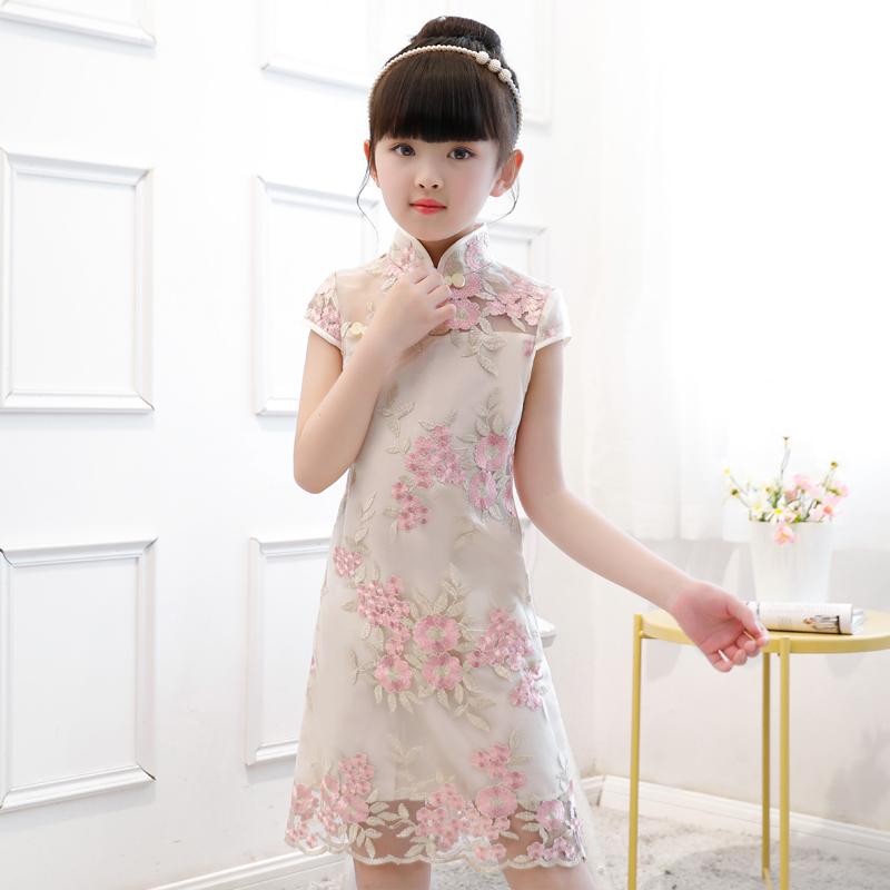中国风女童旗袍裙演出服春秋小女孩