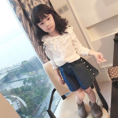 兒童白色襯衣2018秋裝新款韓版女童打底衫棉質女小童寶寶長袖襯衫