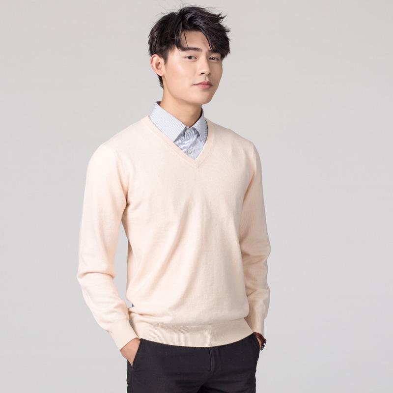 【100%贴身穿不扎】男士正品山羊绒衫 打底衫毛衣纯色针织绒衫