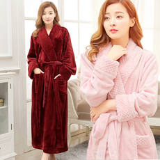 7ff259896a Winter flannel gown pajamas thickening female 200 kg plus fertilizer XL fat  mm autumn and winter