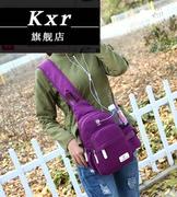 KXR新款胸包户外运动尼龙帆布斜跨骑行包胸前旅游男女单肩挎水壶