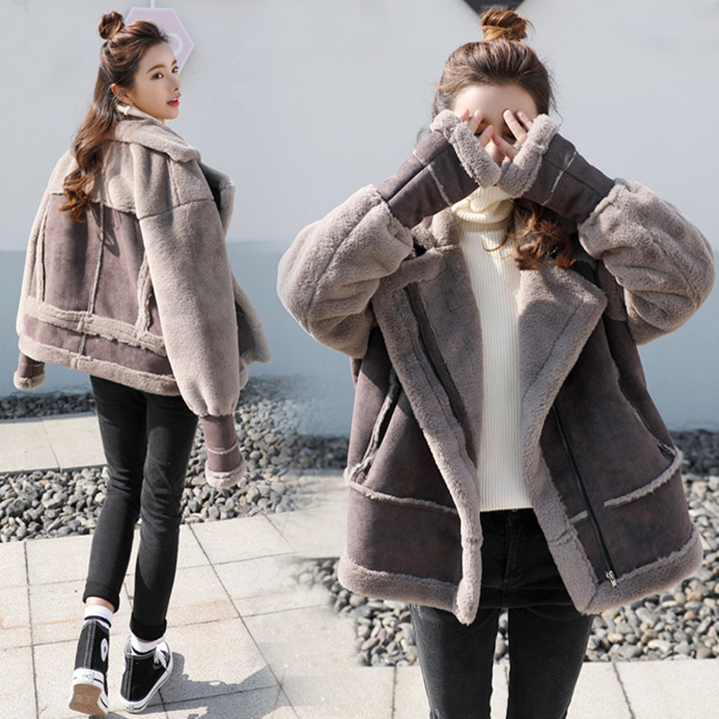 winter Korean version of the lamb lapel fur one locomotive suede deer loose short section