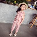 女童夏装 2018新款儿童套装休闲短款无袖+裤子薄款小女孩两件套