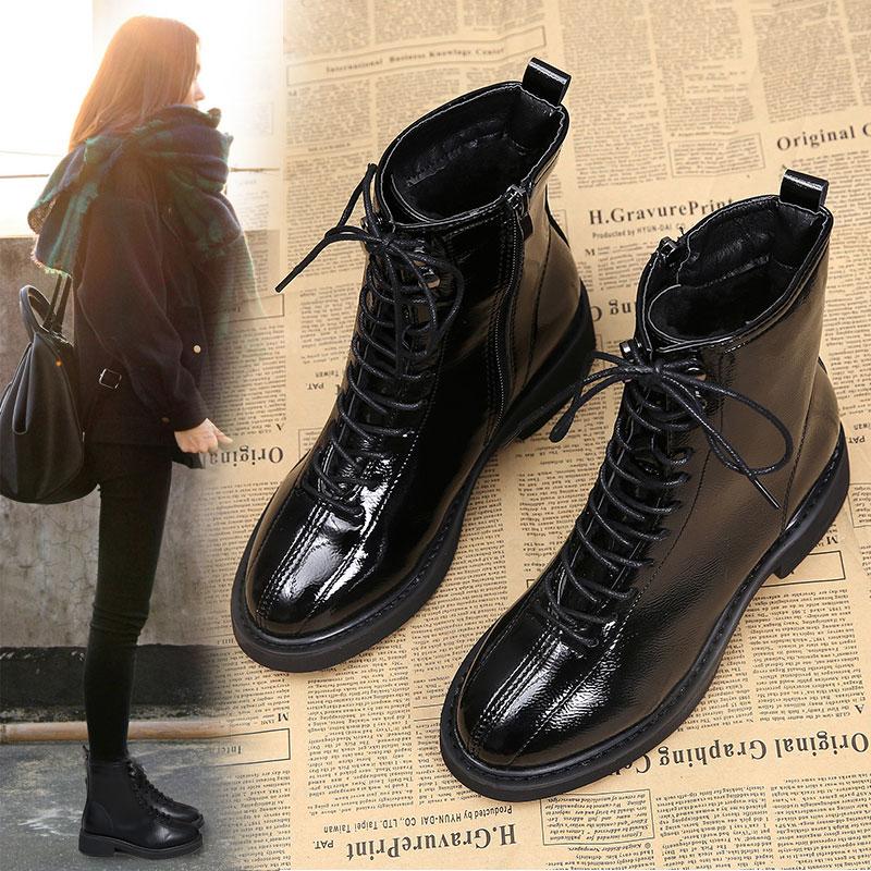 2018新款英伦靴子复古系带侧拉链圆头粗跟高跟短靴女靴马丁靴黑色
