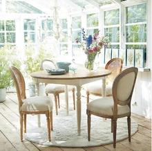 美式乡村圆餐桌地中海餐桌椅组合实木圆桌现代简约小户型圆形餐桌