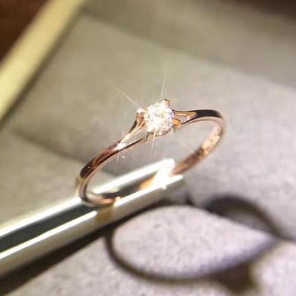 四爪18K玫瑰金戒指女钻石黄金宝石对戒纯银925托环日韩版简约个性