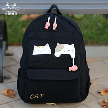 Taiwan Imported KINE Cat Cartoon Pure Cotton Canvas Travel Shoulder Backpack Gift for Female College and Middle School Students