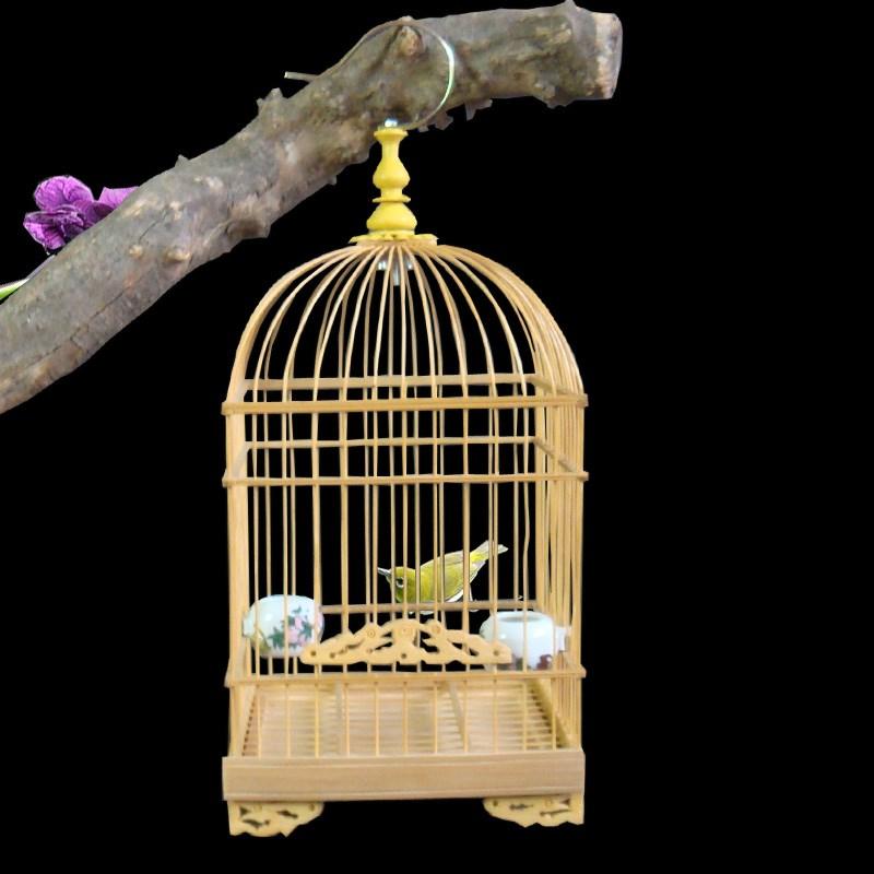 绣眼文鸟麻雀等小型鸟用花样小号竹子鸟笼子带食碗站杆