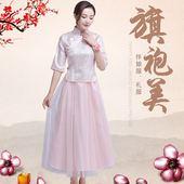 中式伴娘服女姐妹团礼服半袖 春季民国风复古风中国风旗袍 2018新款