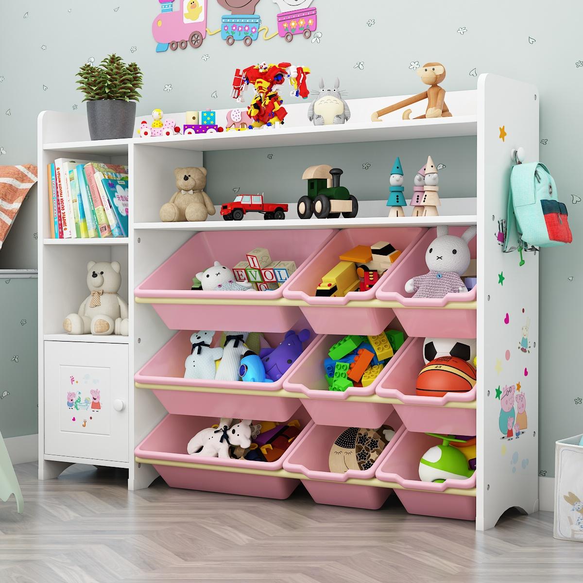 儿童玩具收纳架宝宝书架绘本架幼儿园玩具柜置物架多层整理收纳柜