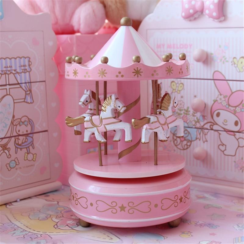 音乐盒生日快乐粉色旋转木马音乐盒八音盒天空之城送女生创意礼品