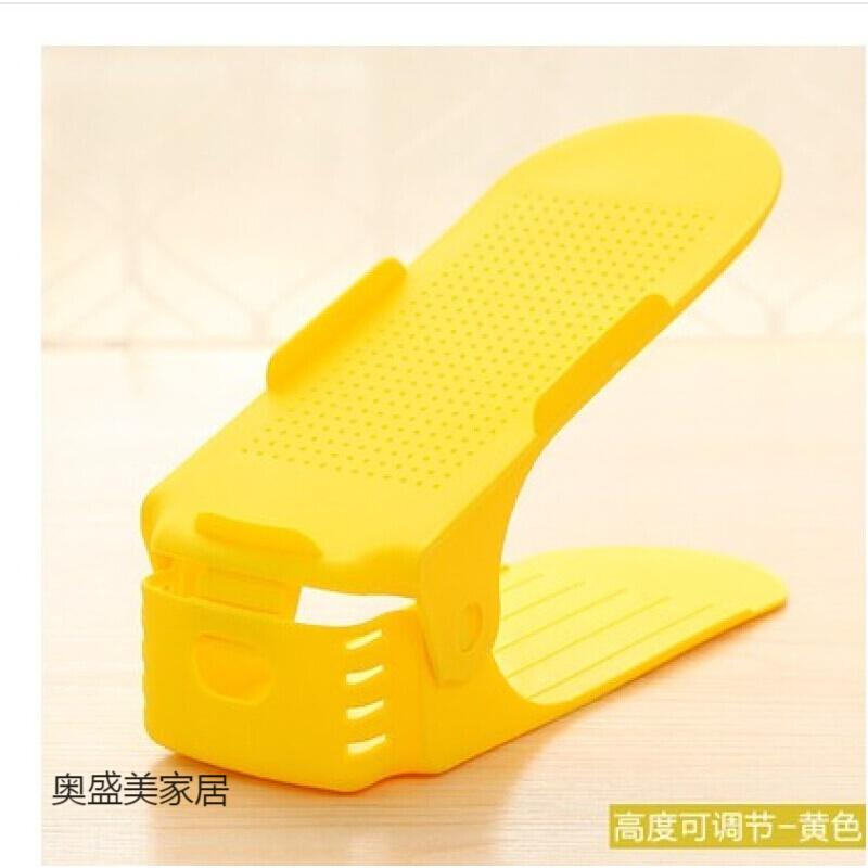 10个装家居用品加厚一体式鞋托架收纳鞋架简易双层塑料可调节鞋黑