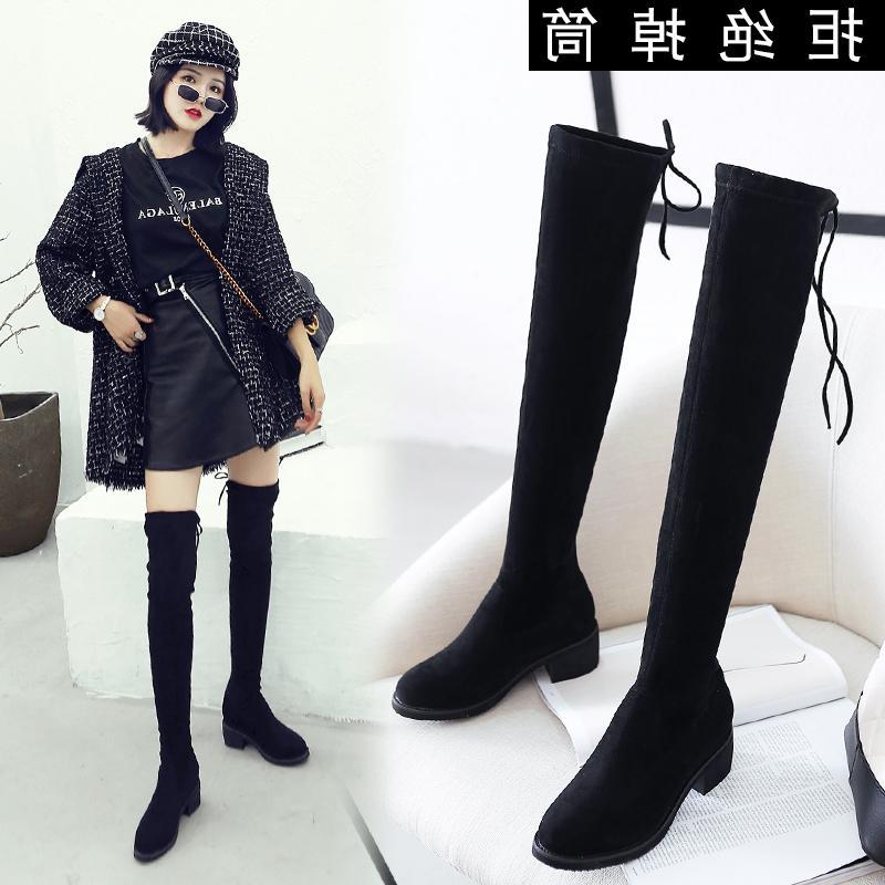 洛百丽正品欧洲站20192019新款秋冬粗跟长筒靴高跟过膝瘦瘦靴网红