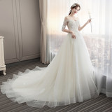 Light wedding dress 2019 new bride word shoulder trailing princess dream out of luxury super fairy Korean version of the Sen was thin