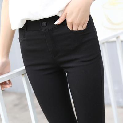 妍思雨韩版打底裤女外穿加长2018新款高腰显瘦黑色小裤脚弹力超长