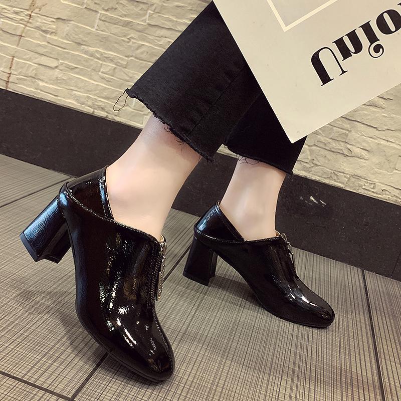 专柜正品冬季他她女鞋两穿漆皮方头网红高跟鞋女粗跟靴子2018新款
