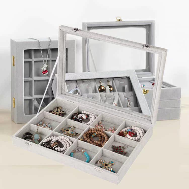 福乐木质翻盖24格耳钉盒子耳环收纳箱饰品展示盒戒指项链耳环首饰