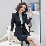 Autumn hotel manager overalls female high-end goddess fan dress fashion business OL black suit foreman tooling