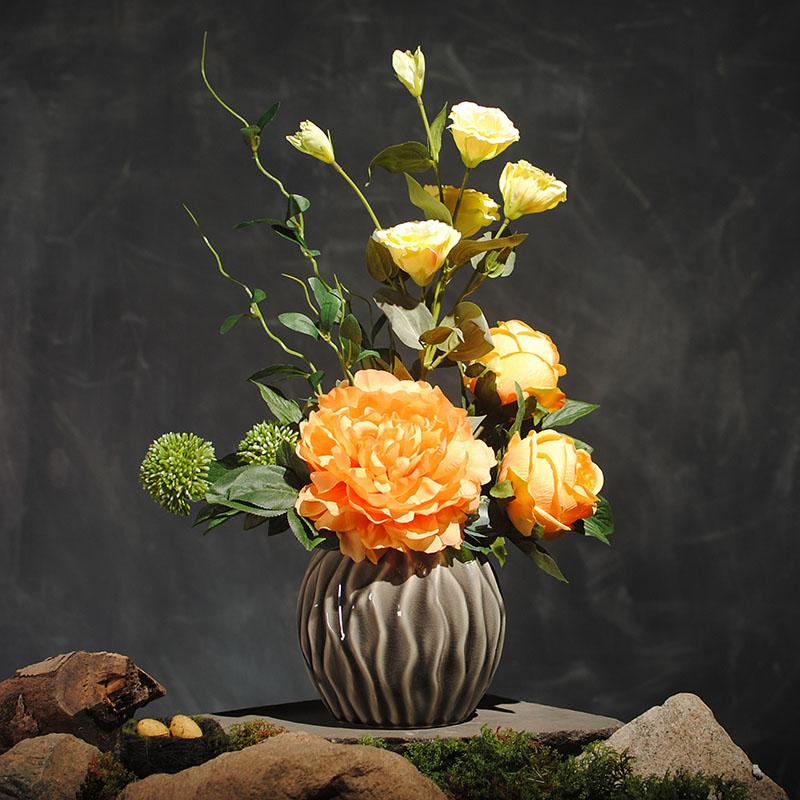富贵牡丹新中式花艺仿真花套装客厅桌台绢花玫瑰摆设花假花装饰花